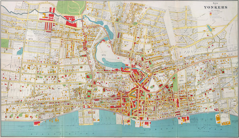 Old Map Of Yonkers City New York Plan United States Of America - Hudson river on a us map