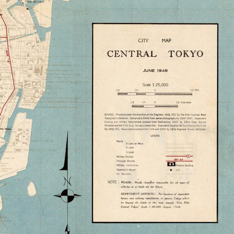 Vintage Map Of Tokyo Japan OLD MAPS AND VINTAGE PRINTS - Japan map legend