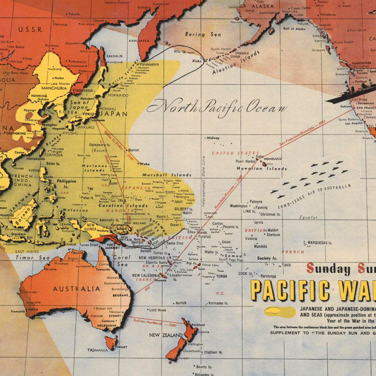 Old Map Australia Pacific War Japan 1943 Poster - OLD MAPS AND ...