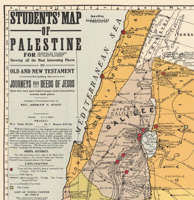Old Map of Israel Palestine Jesus 1905 Middle East Religious