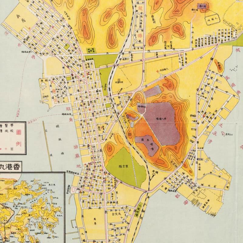 Vintage old Map of Hong Kong Kowloon 1951 China on singapore map, kowloon city map, kowloon mtr map, mongkok map, tsim sha tsui map, kowloon china, santo domingo dominican republic map, harbour grand kowloon map, hk map, kowloon street map in chinese, nathan road kowloon map, kowloon bus route map, shenzhen map, macau map, kowloon map of attractions, china map, hangzhou map, shanghai map,