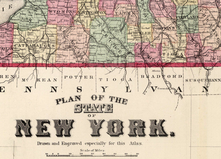 Vintage Map of New York State 1895