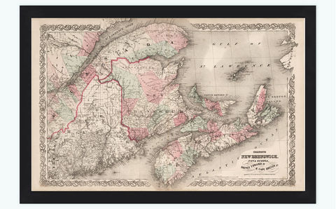 Old,Map,of,New,Brunswick,Nova,Scotia,1855,vintage,Art,Reproduction,Open_Edition,old_map,vintage_map,Canada,Canada_map,vintage_poster,new_brunswick_map,maine_map,vintage_map_maine,maine_new_brunswick,nova_scotia,edward_islands