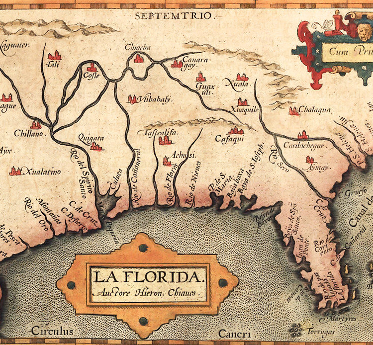 Old map of America Florida Discoveries 1584   OLD MAPS AND VINTAGE
