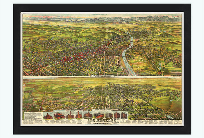 Panoramic view of los angeles california 1840 old maps and vintage prints - Panoramic les angles ...