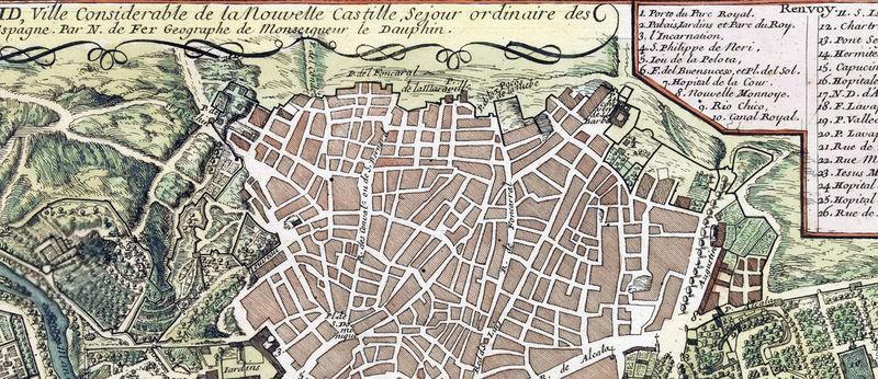"Vintage Map of Madrid 20/"" x 30"
