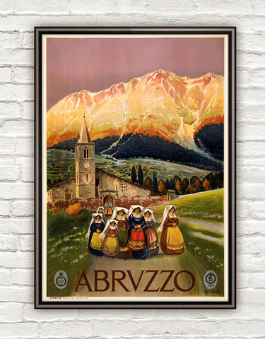 Vintage,Poster,of,Abruzzo,Italy,Italia,1920,Tourism,poster,travel,Art,Reproduction,Open_Edition,vintage_poster,Rome_Vintage,Italia_tourism,italy,italy_vintage,travel_poster,abruzzo,italy_poster,italia,tradicional,folk,picturesque,italy_travel