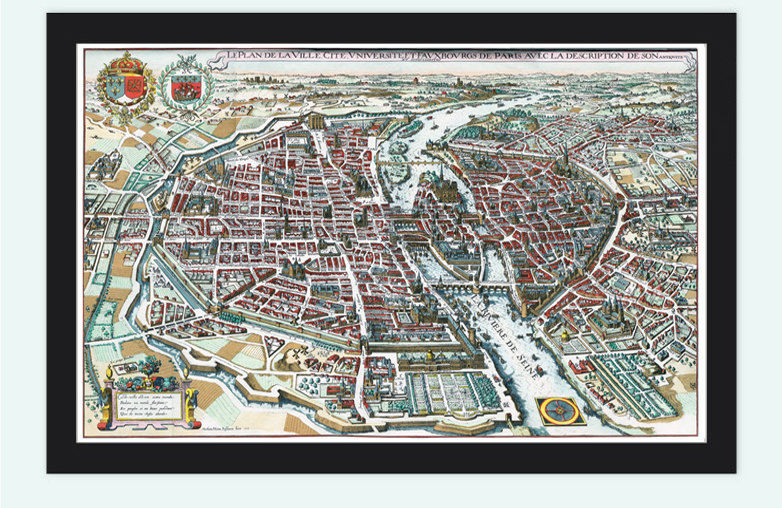 Old View Of Paris Panoramic Map Merian Historic Gravure Engraving - Old riga map