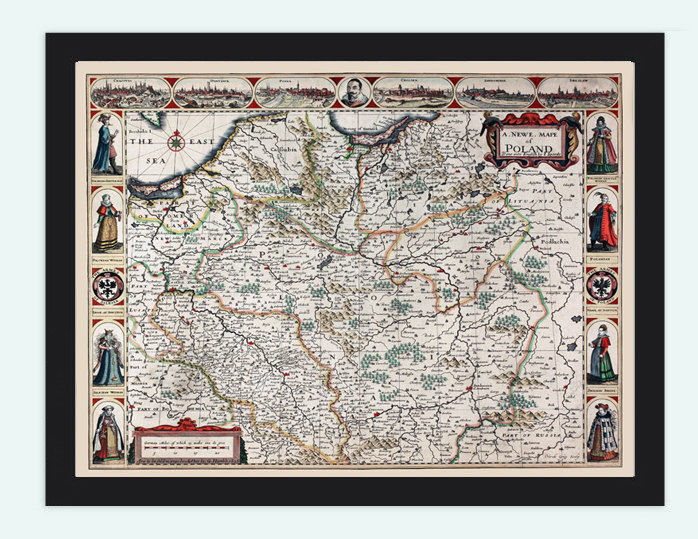 Vintage Map of Poland Krakow Gdansk Antique 1626 OLD MAPS AND