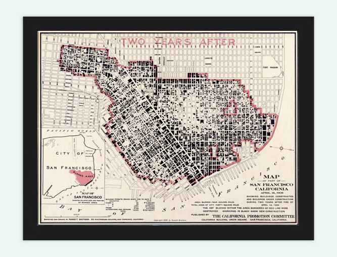 Vintage Map Of San Francisco Fire Damage United States Of America - Us Map 1908