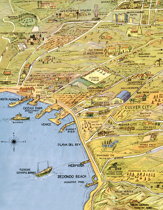 Vintage Map of Los Angeles 1932 California OLD MAPS AND VINTAGE PRINTS
