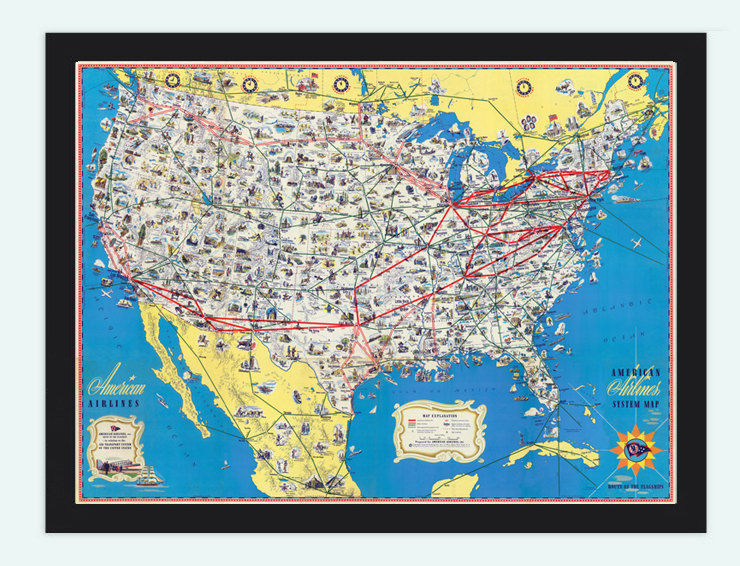 Old Map Of United States XAmerican Airlines OLD MAPS - 1845 us map