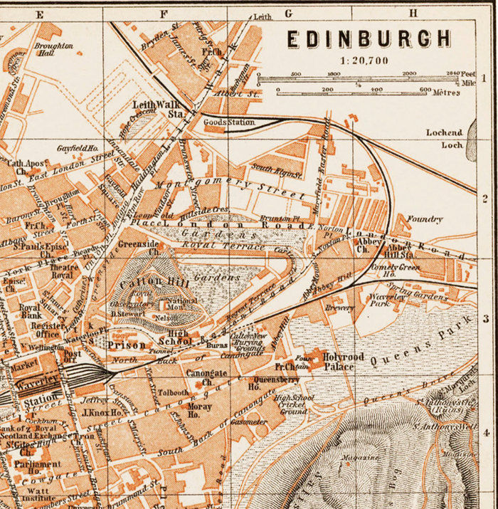 Old Map of Edinburgh Scotland 1890 OLD MAPS AND VINTAGE PRINTS