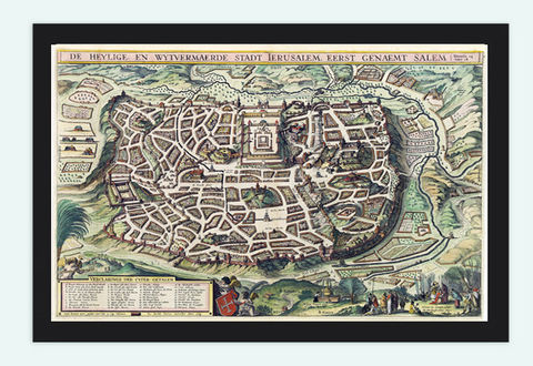 Old,Map,of,Jerusalem,Holy,Land,Palestine,engraving,medieval,Art,Reproduction,Open_Edition,vintage,plan,gravure,vintage_map,illustration,city_plan,old_map,holy_land,Religious