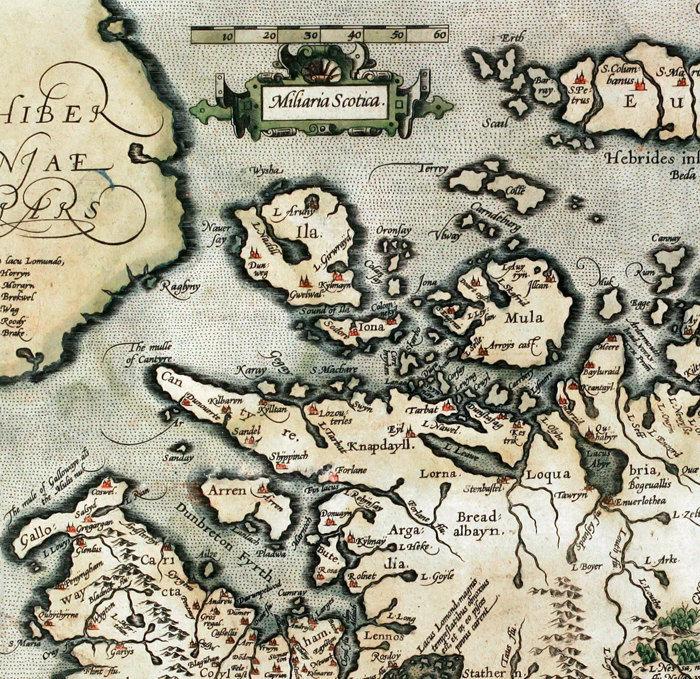 Old Map of Scotland 1602 Sea Monster Vintage