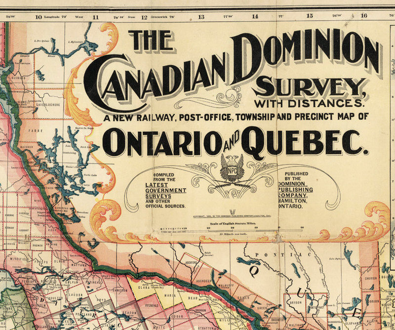 Old Map of Canada Quebec Ontario North America 1899 - product image
