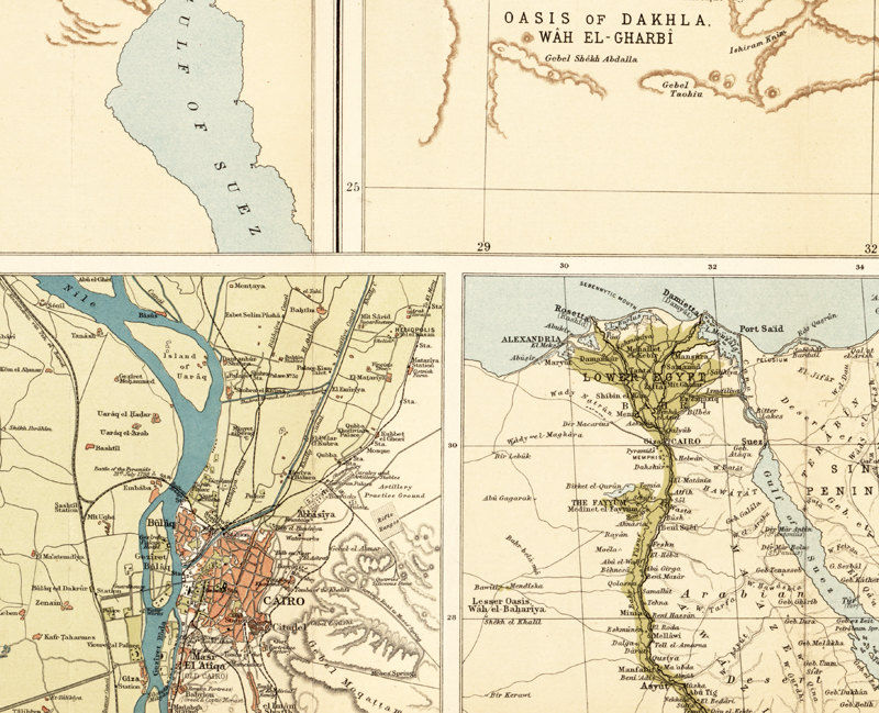 Old Map Of Egypt And Lower Nile River Antique Vintage - Vintage map of egypt