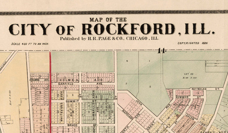 Old vintage map of Rockford Illinois 1886 United States of America