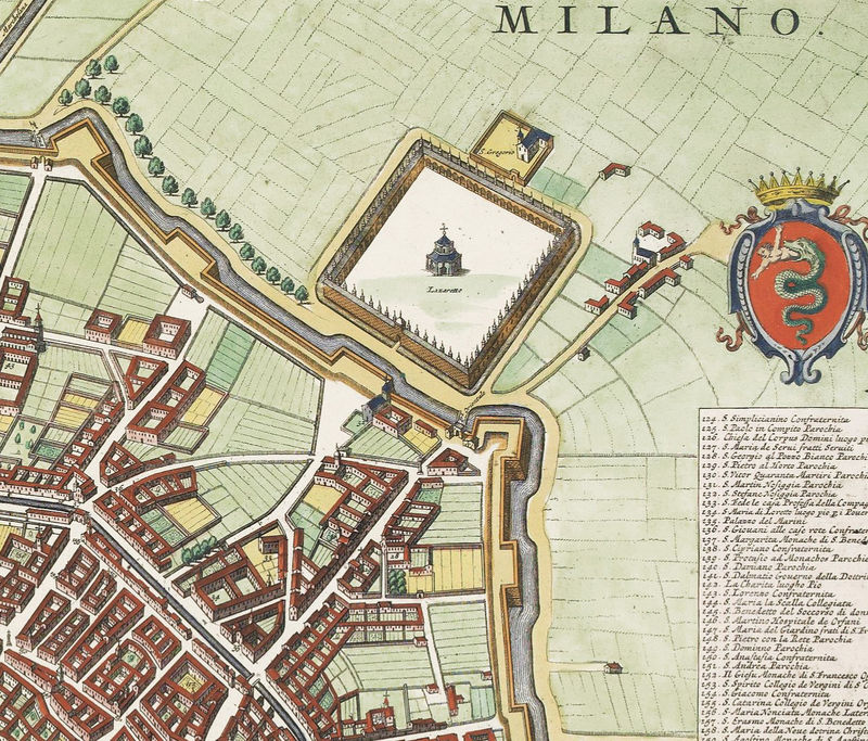 Old Map of Milan Milano Italia 1700 Antique Vintage Map Italy