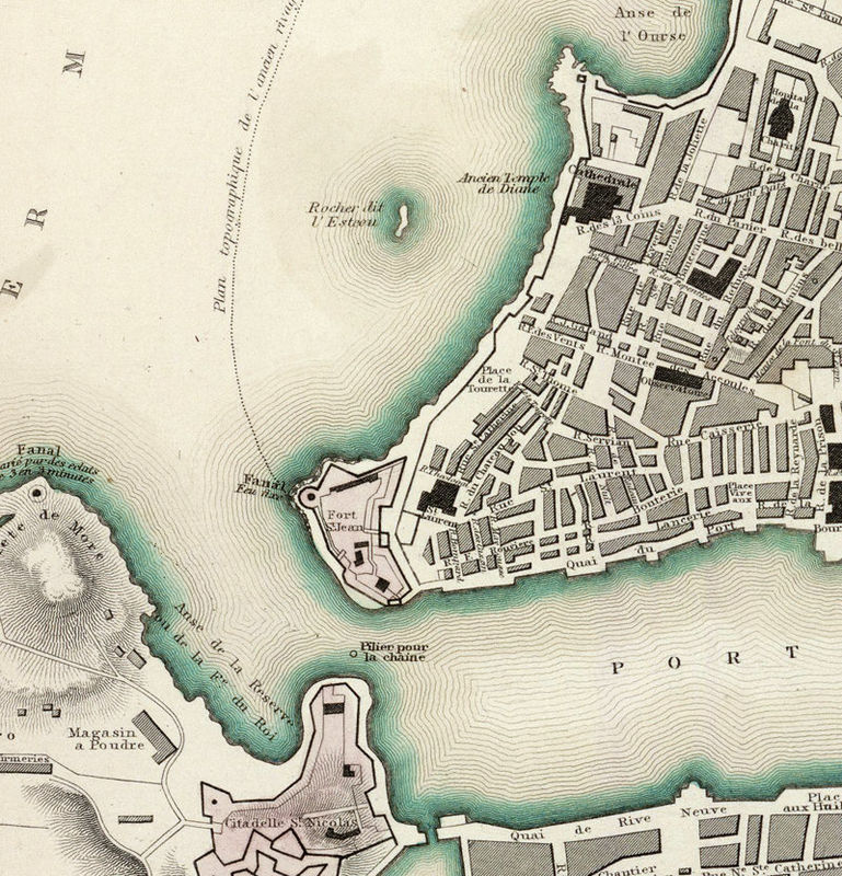 Old Map of Marseille with gravures City Plan France 1840 Vintage