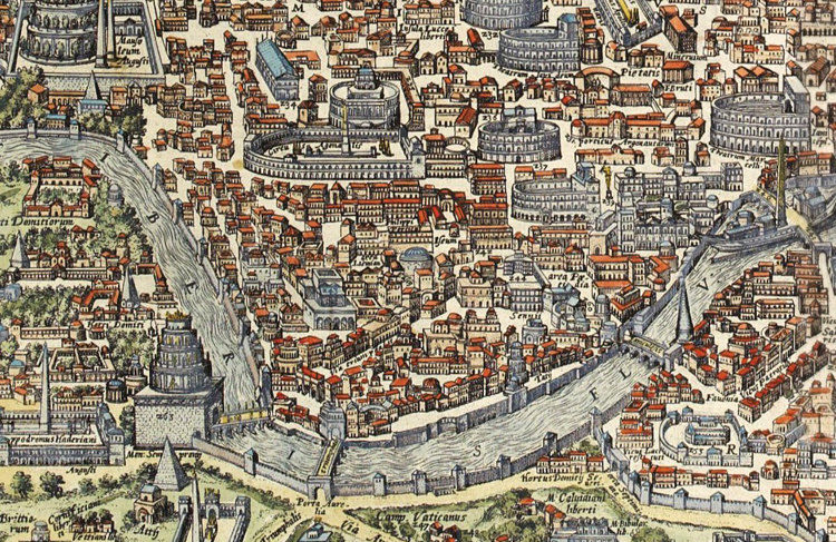 Old Map of Rome Roma, Italy 1580 Antique Vintage Italy - OLD MAPS ...