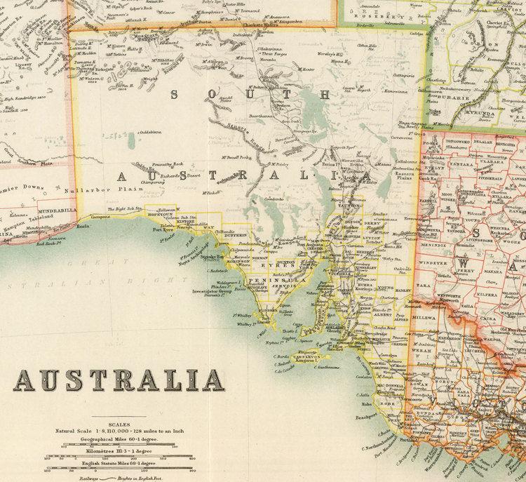 Vintage Map Australia Melbourne Hobart Perth Sydney Adelaide - Vintage maps melbourne