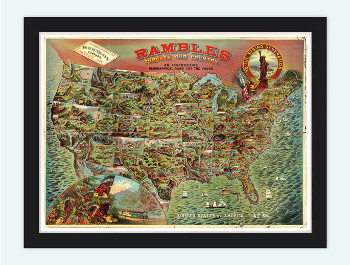 Vintage Old Map Of United States Of America Mexico Gameboard Map 1886