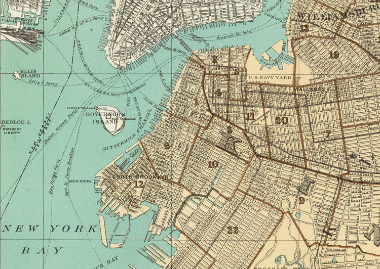 Old Map of Brooklyn 1895 OLD MAPS AND VINTAGE PRINTS