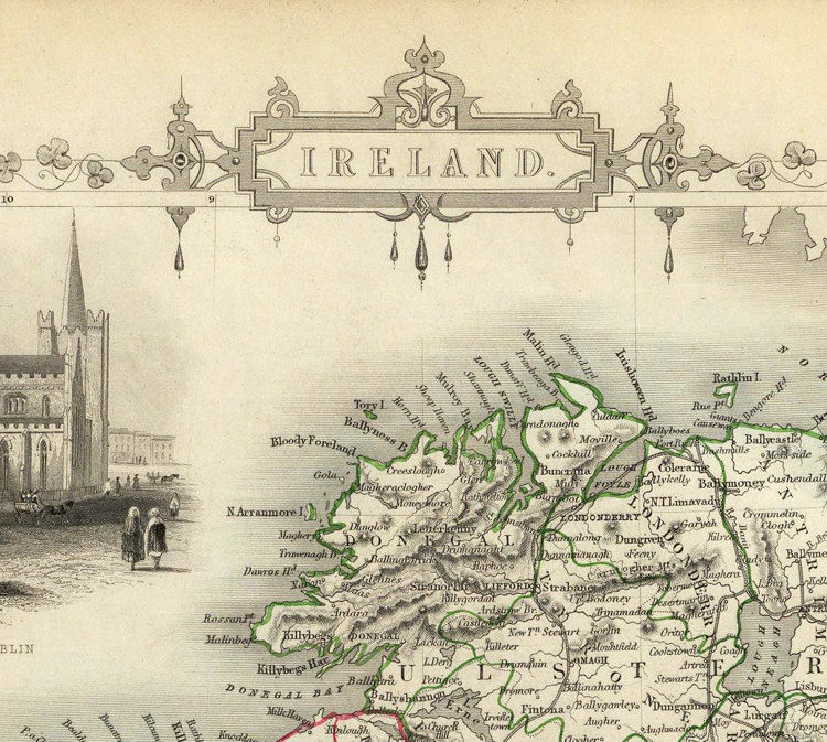 Vintage Map of Ireland 1851 Beautiful Antique map of Ireland with