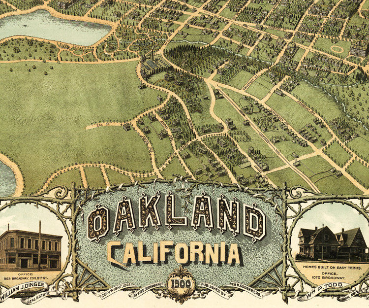 Vintage view oakland california birdseye view 1900 old maps and vintage view oakland california birdseye view 1900 product image publicscrutiny Image collections
