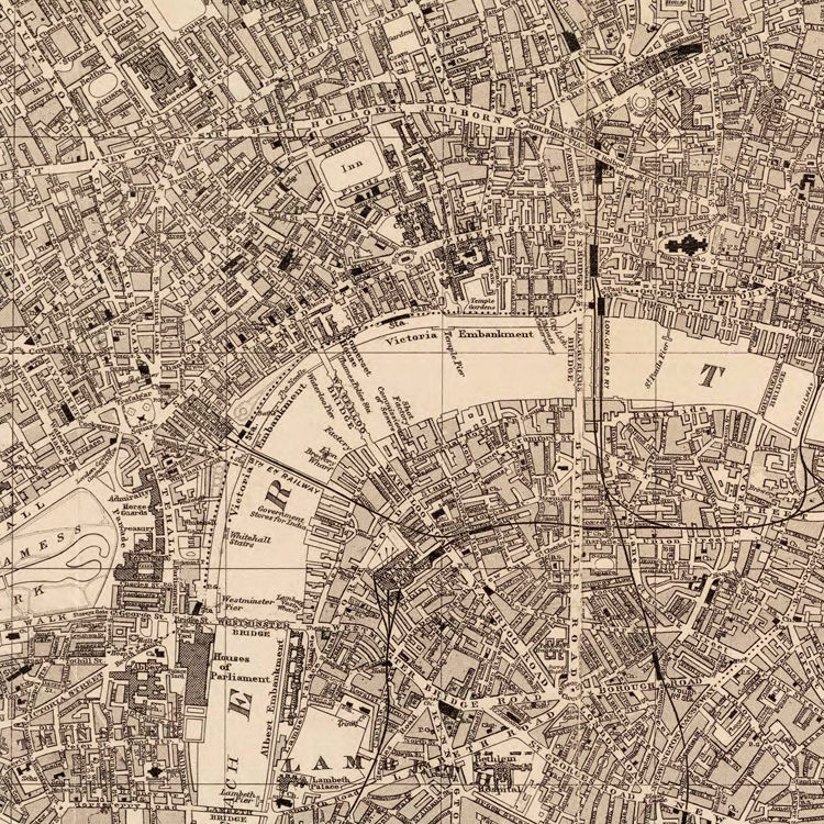 Old Map of London England United