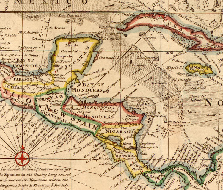 Old Map of Caribbean Area Antillas Gulf of Mexico Nicaragua 1720