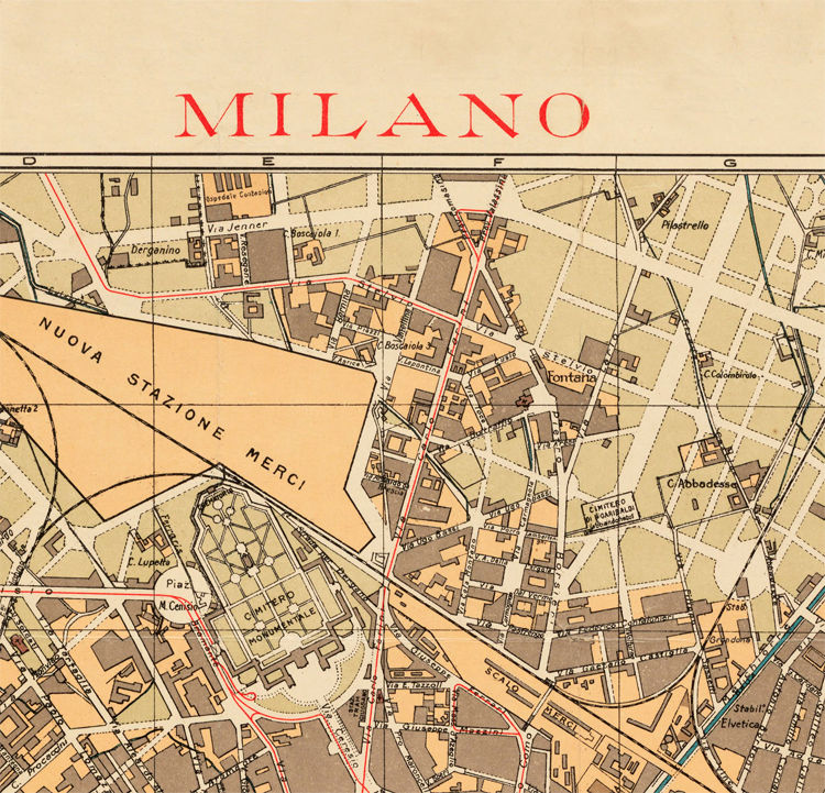 Old Map of Milan Milano City Plan Italia 1910 Antique Vintage Italy