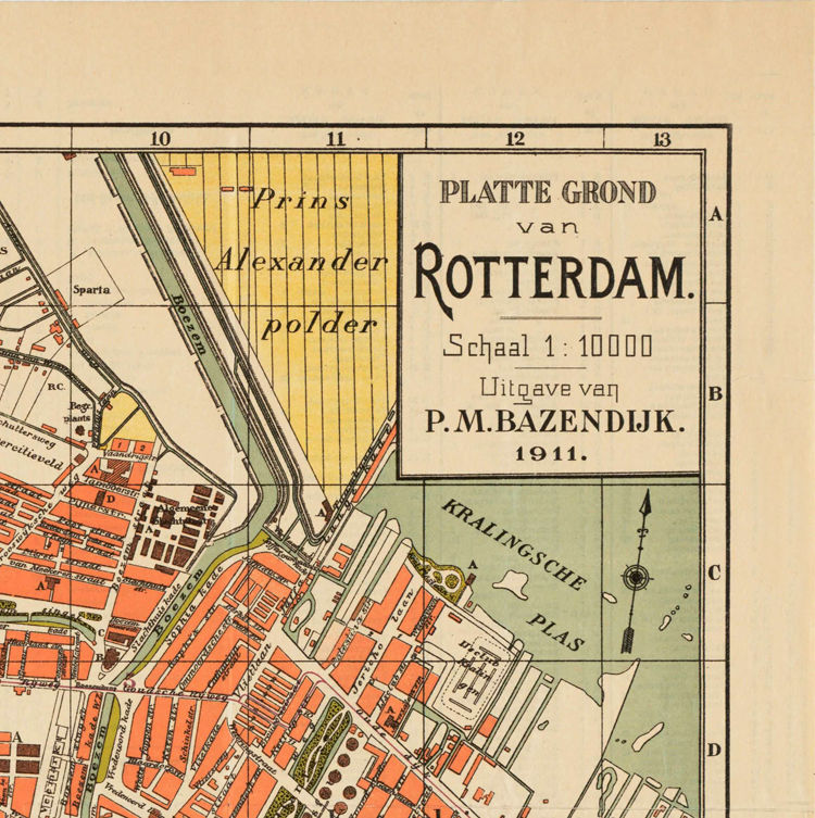Old Map of Rotterdam, Netherlands 1911 Antique Vintage Map - OLD ...