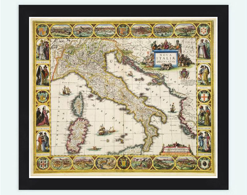 Old Map Of Italy Europe Antique Map OLD MAPS AND VINTAGE PRINTS - Antique map reproductions for sale