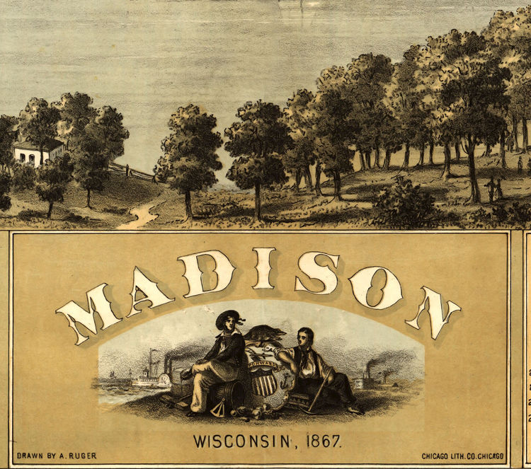 Old Map Of Madison Wisconsin 1876 Panoramic View Vintage Map Vintage Maps And Prints