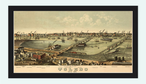 Toledo,Ohio,1876,Panoramic,View,Vintage,toledo, map of toledo, toledo city, toledo map, toledo ohio, panoramic view, birdseye, maps and prints, old map, toledo poster