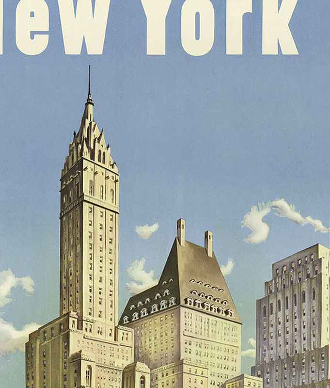 vintage poster of new york tourism poster travel old maps and vintage prints. Black Bedroom Furniture Sets. Home Design Ideas
