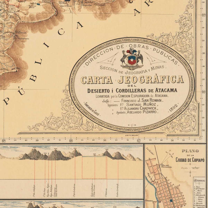 Old Map of Chile Atacama Cordilleras Antofagasta 1892 OLD MAPS AND