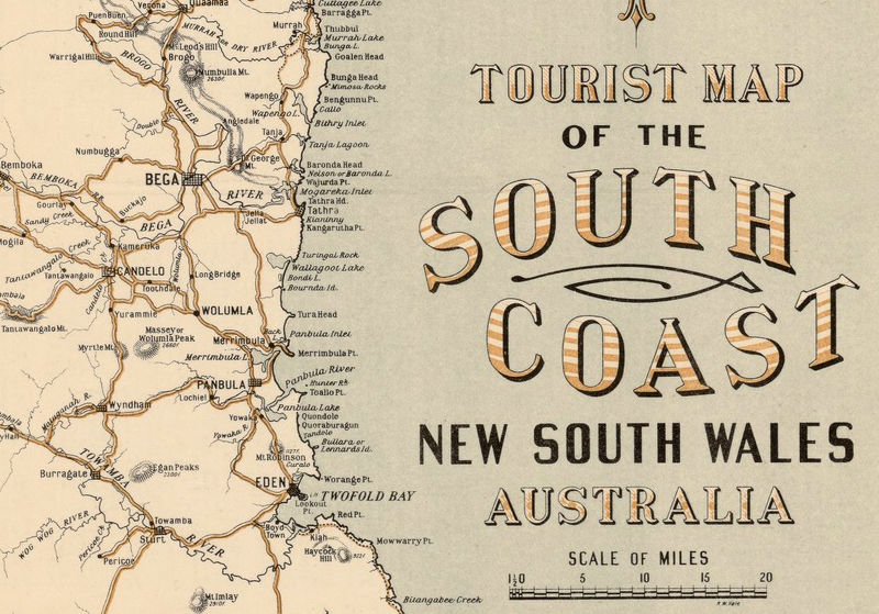 new south wales 1912 old map tourist map australia product image