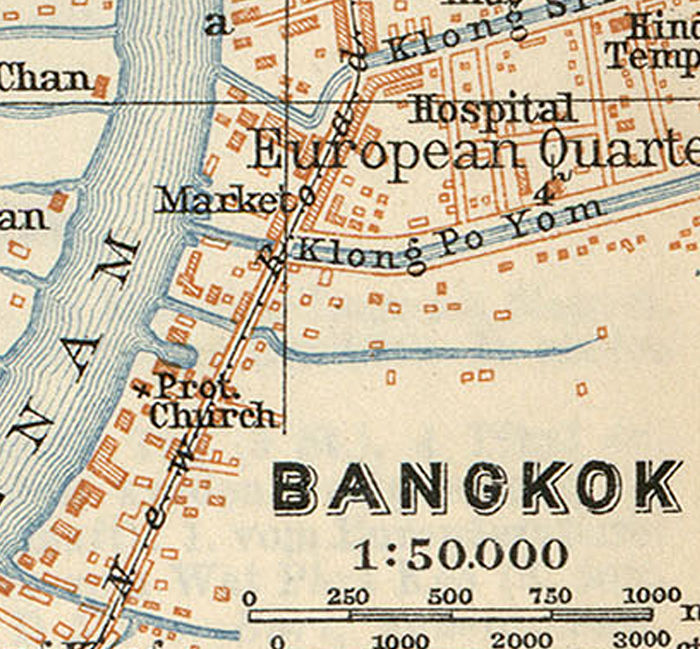 Old Map of Bangkok 1914 Thailand - OLD MAPS AND VINTAGE PRINTS