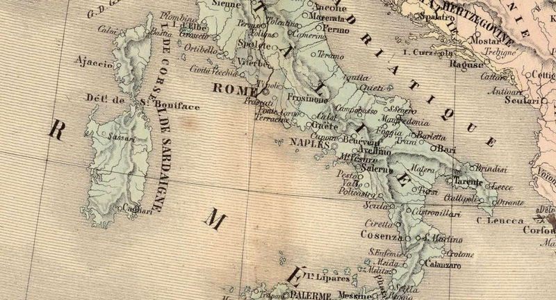Old Map of Mediterranean Sea 1862 - OLD MAPS AND VINTAGE PRINTS