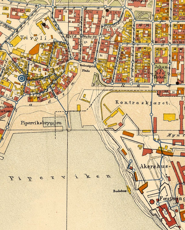 Old Map of Oslo Norway 1881 Antique Kristiania OLD MAPS AND