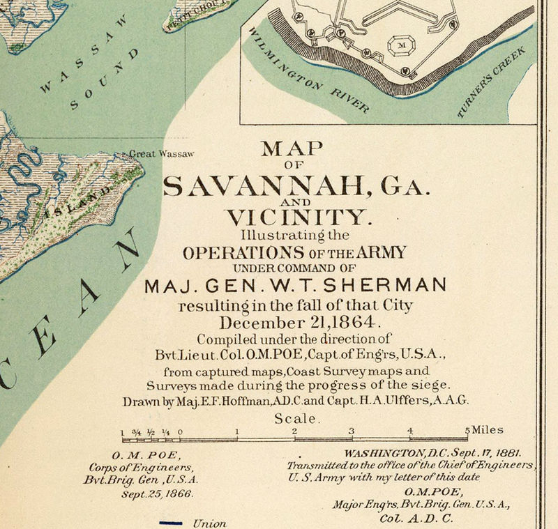 Vintage map of Savannah GA Georgia 1895 United States of America