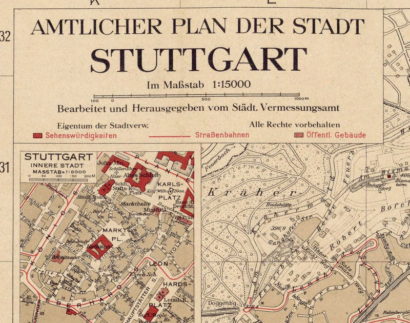 Old Map Of Stuttgart Germany 1925 Vintage Map Old Maps And