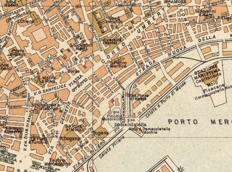 Old Map of Napoli Naples 1930 Antique Vintage Italy