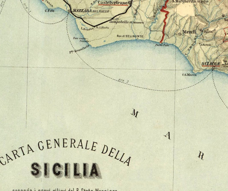 Old Map of Sicily Sicilia, Italy 1891