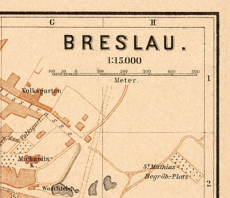 Old Map of Breslau Wroclaw Poland 1895   OLD MAPS AND VINTAGE PRINTS