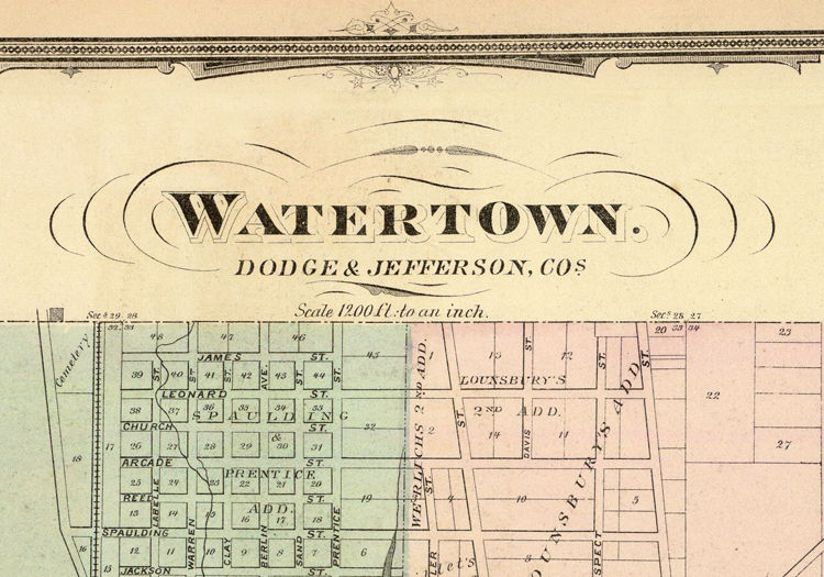 Old Map of Watertown Wisconsin 1878 OLD MAPS AND VINTAGE PRINTS