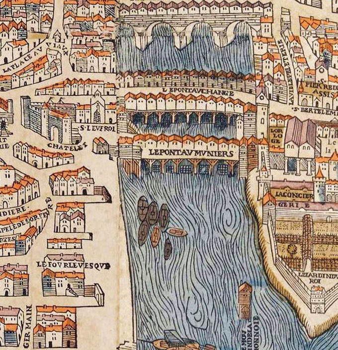 old map of paris france 1550 product image